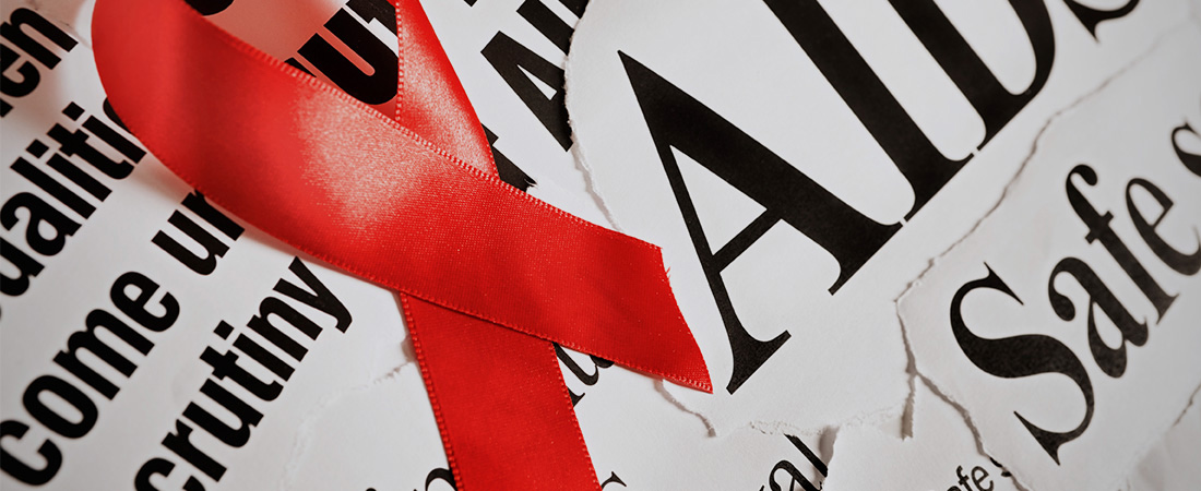 A photo of the AIDS ribbon.