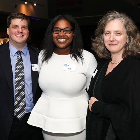 EDC Pitch Competition winners Shai Fuxman, Sarah Jerome, and Chelsey Goddard.