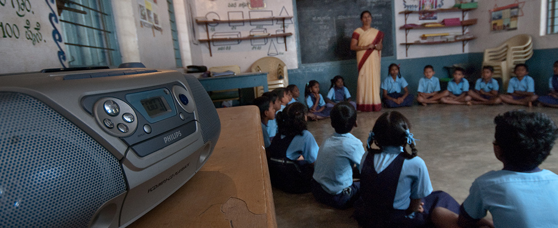 A photo of a classroom using interactive audio instruction.