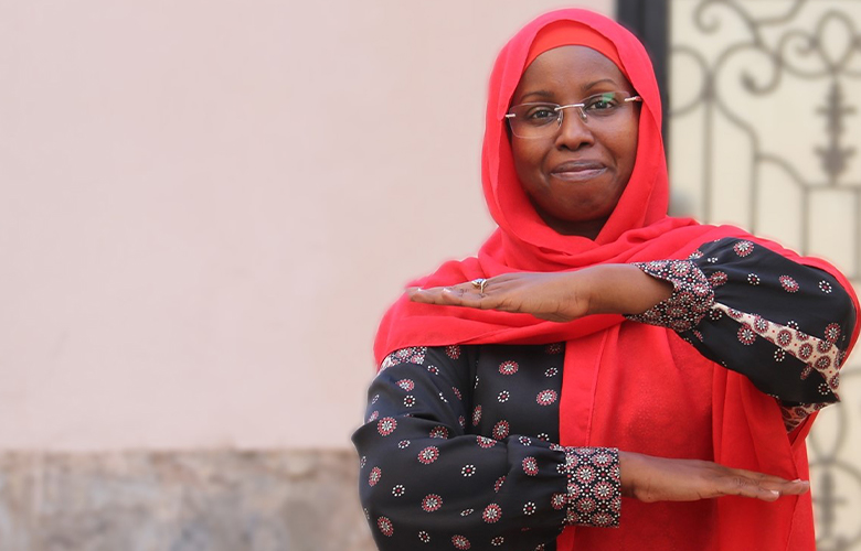 """Youssouf demonstrates """"Each for Equal,"""" the theme of International Women's Day 2020"""