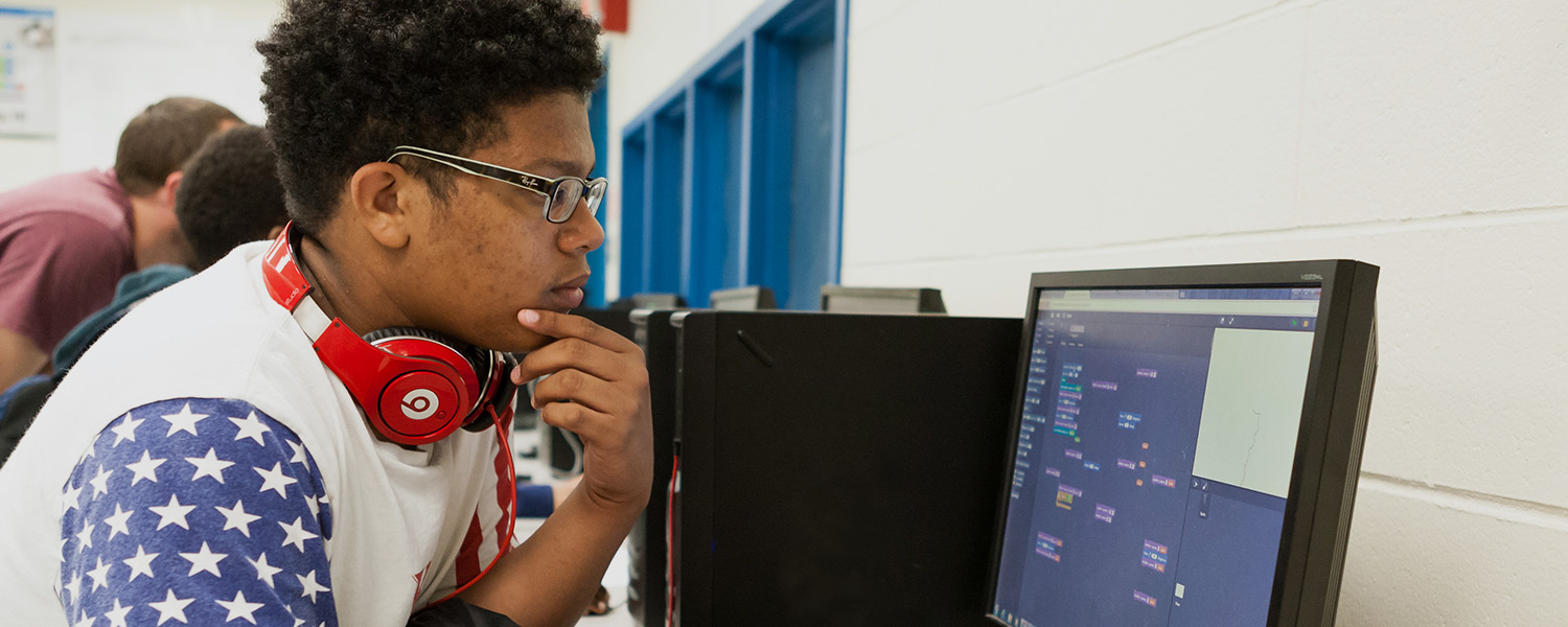 A student working on a computer