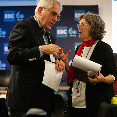Val Zanchuk and Abigail Jurist Levy talk during a working session.