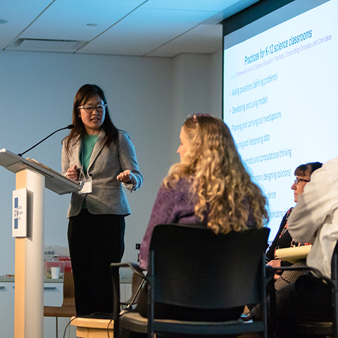 Erin Hashimoto-Martell leads an expert panel.