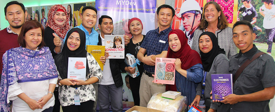 A photo of book donations in Marawi City, Philippines.