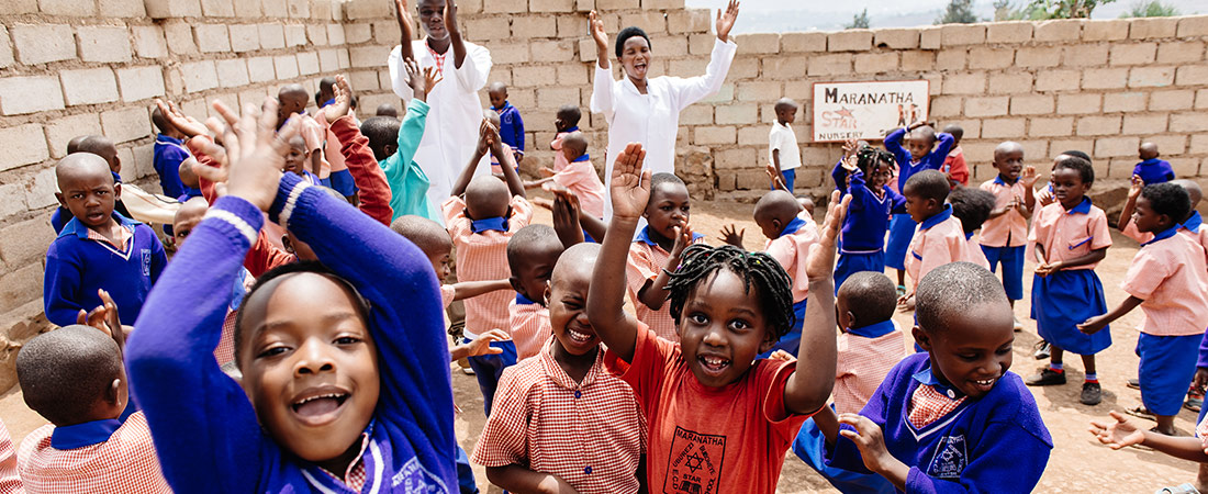 A photo of students in Rwanda