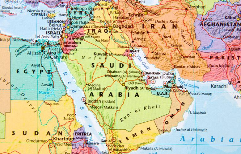 A map of the Middle East representing Translating Research into Practice in MENA
