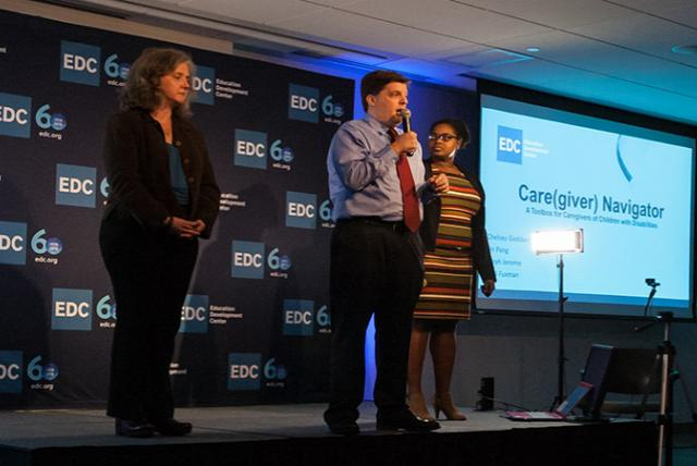 A photo of the Care(Giver) Navigator from the EDC pitch competition