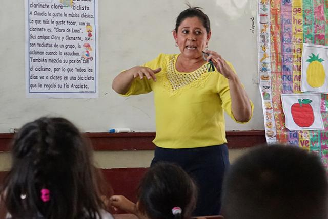 A photo of a teacher in Honduras