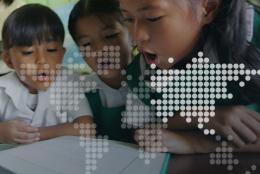 Schoolchildren reading in the Philippines
