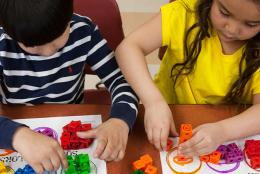 A photo of children using blocks representing New EDC Study to Advance Knowledge of Children's Math and Spatial Learning