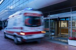 Ambulance in front of a hospital
